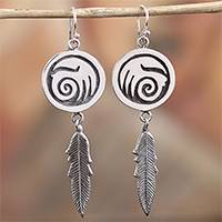 Sterling silver dangle earrings, 'Navajo Currents' - Navajo Sterling Silver Wave Dangle Earrings from Mexico