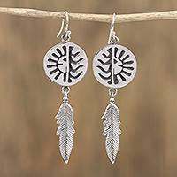 Sterling silver dangle earrings, 'Navajo Eclipse' - Navajo Sterling Silver Eclipse Dangle Earrings from Mexico