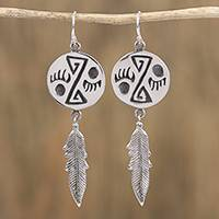 Sterling silver dangle earrings, 'Navajo Spirals' - Navajo Sterling Silver Dangle Earrings from Mexico