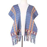 Cotton scarf, 'Artisan Stripes in Turquoise' - Striped Cotton Wrap Scarf in Turquoise and Carnation