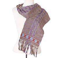 Cotton scarf, 'Artisan Stripes in Avocado' - Striped Cotton Wrap Scarf in Avocado and Blue-Violet