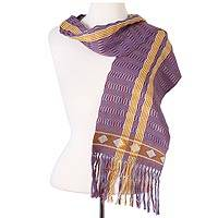 Cotton scarf, 'Artisan Stripes in Navy' - Striped Cotton Wrap Scarf in Navy and Burnt Sienna