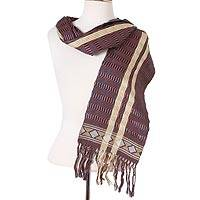 Cotton scarf, 'Artisan Stripes in Eggplant' - Striped Cotton Wrap Scarf in Eggplant and Azure from Mexico