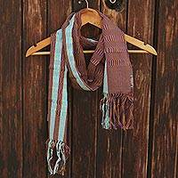 Cotton scarf, 'Artisan Stripes in Amber' - Striped Cotton Wrap Scarf in Amber and Blue-Violet