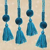 Cotton pompom tassels, 'Flowing Waters' (set of 4) - Handcrafted Blue and Green Cotton Pompom Tassels (Set of 4)