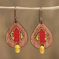 Wood dangle earrings, 'Bold Rain' - Wood Teardrop with Cotton Cross-Stitch Dangle Earrings