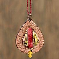 Wood pendant necklace, 'Bold Rain' - Wood Teardrop with Cotton Cross-Stitch Pendant Necklace