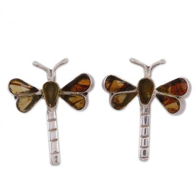 Amber drop earrings, 'Age-Old Dragonflies' - Amber Dragonfly Drop Earrings from Mexico