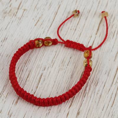 Amber beaded macrame bracelet, 'Age-Old Passion in Red' - Amber Beaded Macrame Bracelet in Red from Mexico