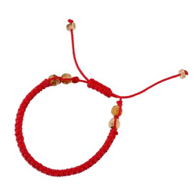 Amber Beaded Macrame Bracelet in Red from Mexico