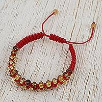 Amber beaded macrame bracelet, 'Age-Old Dots' - Handmade Amber Beaded Macrame Bracelet from Mexico