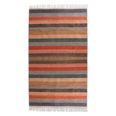 Wool rug, 'Magnificent Sunset' (5x9) - Handwoven 5 by 9 Foot Wool Area Rug in Sunset Colors