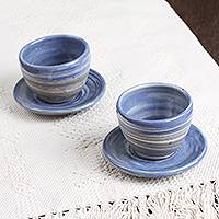 Ceramic cups and saucers, 'Sky Lines' (pair) - Ceramic Cups and Saucers in Blue from Mexico (Pair)