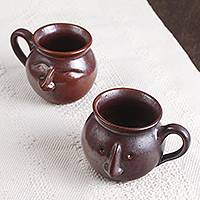 Ceramic mugs, 'Whimsical Faces in Brown' (pair) - Ceramic Face Mugs in Brown from Mexico (Pair)