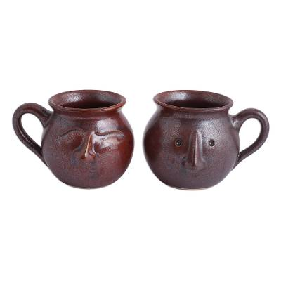 From Ceramic Brown' In Brown Face Mugs Faces Mexicopair'whimsical hCsrdBxtQ