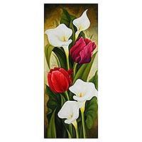 'Tulips and Calla Lilies II' - Signed Still Life Painting of Tulips and Calla Lilies