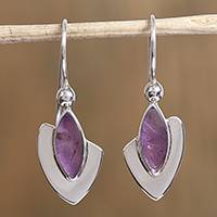 Amethyst dangle earrings, 'Amethyst Blades' - Modern Amethyst Dangle Earrings from Mexico