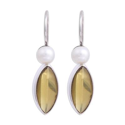 Amber and Cultured Pearl Dangle Earrings from Mexico