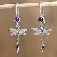 Amethyst dangle earrings, 'Chasing Purple' - Amethyst Dragonfly Dangle Earrings from Mexico