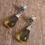 Amethyst dangle earrings, 'Lovely Nectar' - Floral Amber Dangle Earrings from Mexico (image 2b) thumbail