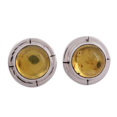 Taxco Silver Amber Button Earrings from Mexico