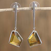 Amber dangle earrings, 'Modern Crystals' - Geometric Amber Dangle Earrings from Mexico