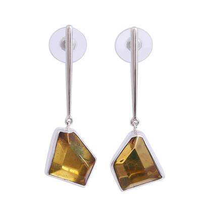 Geometric Amber Dangle Earrings from Mexico
