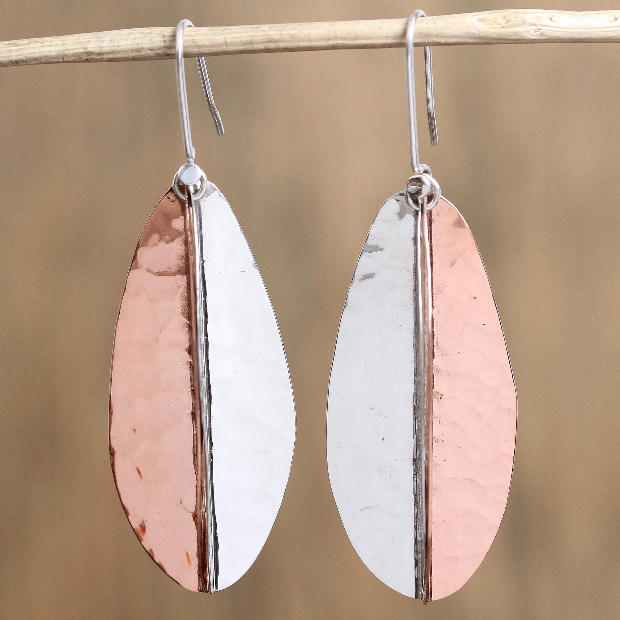 Sterling Silver Leaf Earrings hammered dangles
