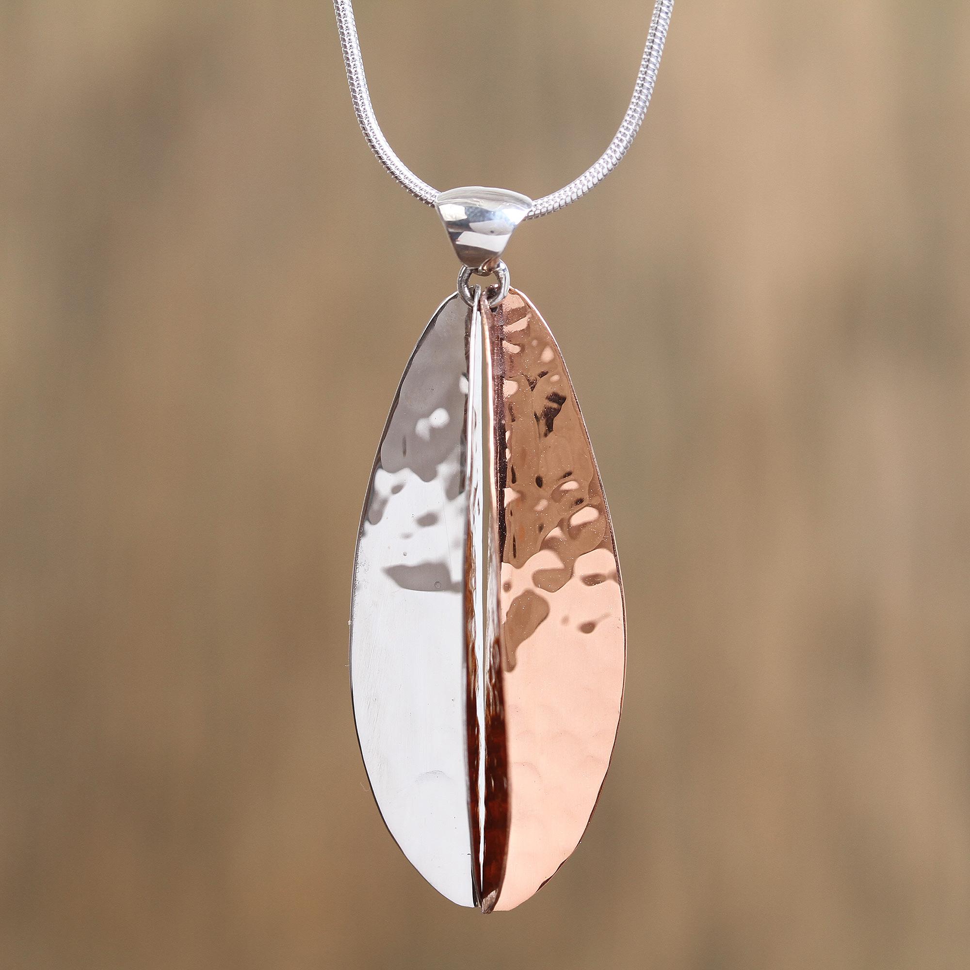 Unicef Market Leaf Shaped Sterling Silver And Copper Pendant Necklace Rippling Leaf