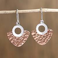 Sterling silver and copper dangle earrings, 'Rippling Blades' - Modern Sterling Silver and Copper Dangle Earrings