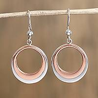 Sterling silver and copper dangle earrings, 'Eclipsed Circle' - Circular Sterling Silver and Copper Dangle Earrings