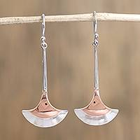 Sterling silver and copper dangle earrings, 'Elegant Blades' - Fan-Shaped Sterling Silver and Copper Dangle Earrings
