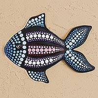 Ceramic wall art, 'Black Fish' - Hand-Painted Ceramic Fish Wall Art from Mexico