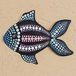 Hand-Painted Ceramic Fish Wall Art from Mexico, 'Black Fish'