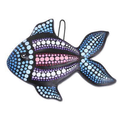Ceramic wall art, 'Black Fish' - Hand-Painted Ceramic Fish Wall Art from Mexico