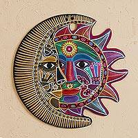Ceramic wall art, 'Fantastic Eclipse' - Hand-Painted Ceramic Sun and Moon Wall Art from Mexico