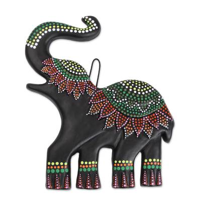 Ceramic wall art, 'Dotted Elephant' - Hand-Painted Ceramic Elephant Wall Art from Mexico
