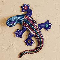 Ceramic wall art, 'Colorful Lizard'