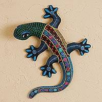Ceramic wall art, 'Festive Lizard' - Colorful Ceramic Lizard Wall Art from Mexico