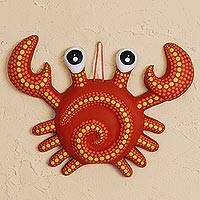 Ceramic wall art, 'Cute Crab'