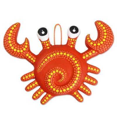 Ceramic wall art, 'Cute Crab' - Hand-Painted Ceramic Crab Wall Art from Mexico