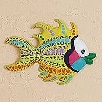 Ceramic wall art, 'Betta Fish' - Hand-Painted Ceramic Betta Fish Wall Art from Mexico