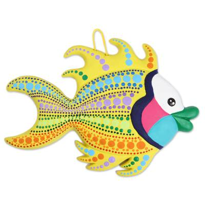 Hand-Painted Ceramic Betta Fish Wall Art from Mexico