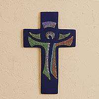 Ceramic wall cross, 'God Lives Here' - Hand-Painted Ceramic Wall Cross from Mexico
