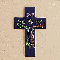 Ceramic wall cross, 'God Lives Here'