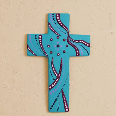 Ceramic wall cross, 'Infinite Faith' - Ceramic Wall Cross in Turquoise from Mexico
