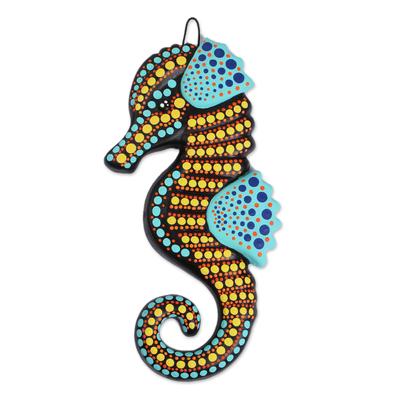 Ceramic wall art, 'Festive Seahorse' - Hand-Painted Ceramic Seahorse Wall Art from Mexico