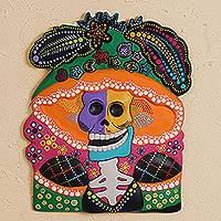 Ceramic wall art, 'Catrina Bust' - Hand-Painted Ceramic Catrina Wall Art from Mexico