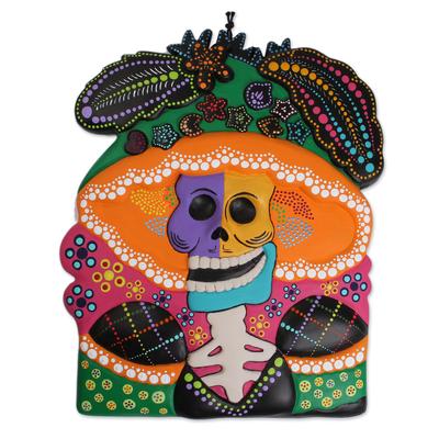 Ceramic wall art, 'Catrina Bust' - Hand-Painted Ceramic Catrina Wall Art from Mexico