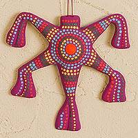 Ceramic wall art, 'Magenta Pinata' - Ceramic Pinata Wall Art in Magenta from Mexico